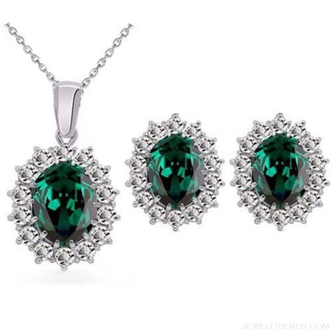 Image of Blue Crystal Stone Wedding Jewelry Sets - Emerald Green - Custom Made | Free Shipping