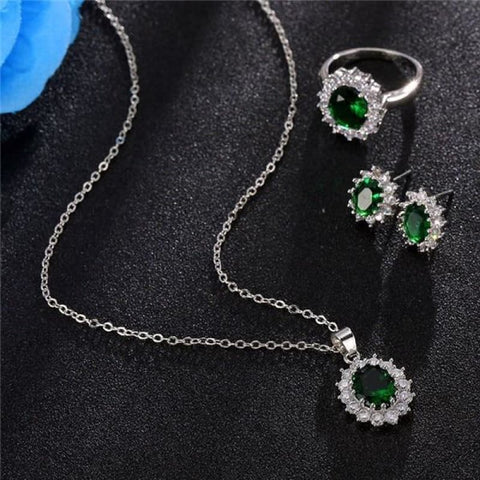 Image of Blue Crystal Stone Wedding Jewelry Sets - Custom Made | Free Shipping