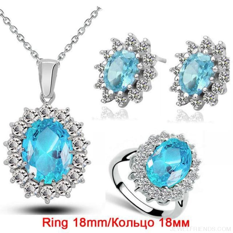 Blue Crystal Stone Wedding Jewelry Sets - Oceanblue 18Mm - Custom Made | Free Shipping