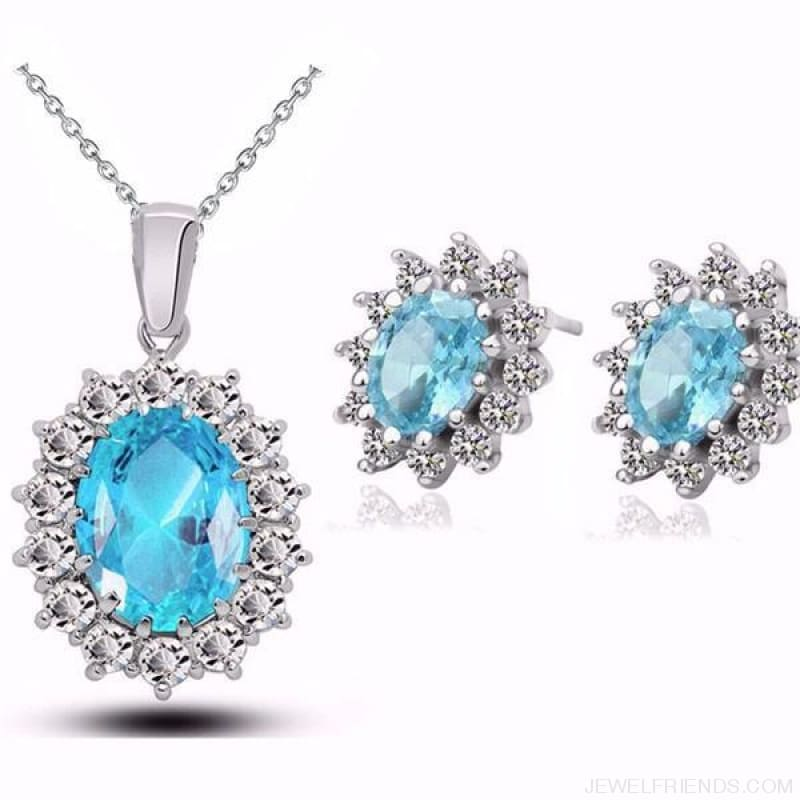 Blue Crystal Stone Wedding Jewelry Sets - Oceanblue - Custom Made | Free Shipping