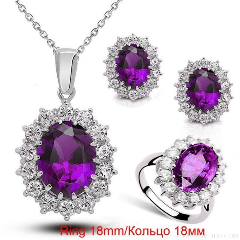 Blue Crystal Stone Wedding Jewelry Sets - Purple Ring 18Mm - Custom Made | Free Shipping