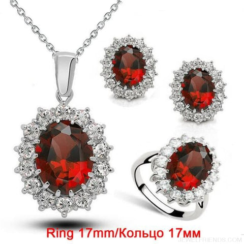 Image of Blue Crystal Stone Wedding Jewelry Sets - Red Ring 17Mm - Custom Made | Free Shipping