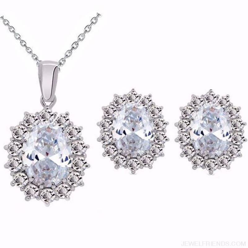 Blue Crystal Stone Wedding Jewelry Sets - White - Custom Made | Free Shipping