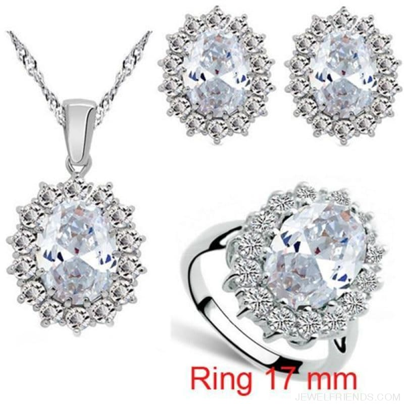 Blue Crystal Stone Wedding Jewelry Sets - White Ring 17Mm - Custom Made | Free Shipping