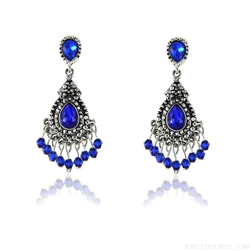 Blue/silver Color Chandelier Crystal Earrings - Custom Made | Free Shipping