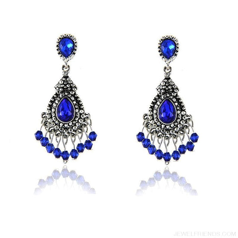 Image of Blue/silver Color Chandelier Crystal Earrings - Custom Made | Free Shipping