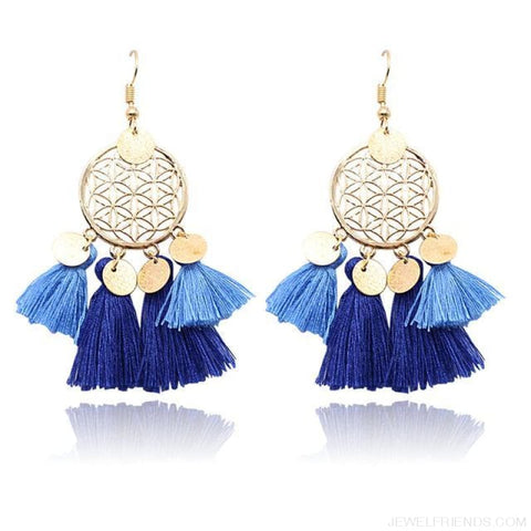 Bohemia Ethnic Summer Sequin Tassel Drop Earrings - Blue - Custom Made | Free Shipping