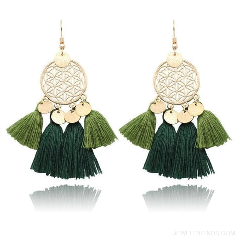 Bohemia Ethnic Summer Sequin Tassel Drop Earrings - Deep Green - Custom Made | Free Shipping