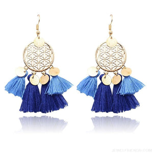 Bohemia Ethnic Summer sequin Tassel Drop Earrings