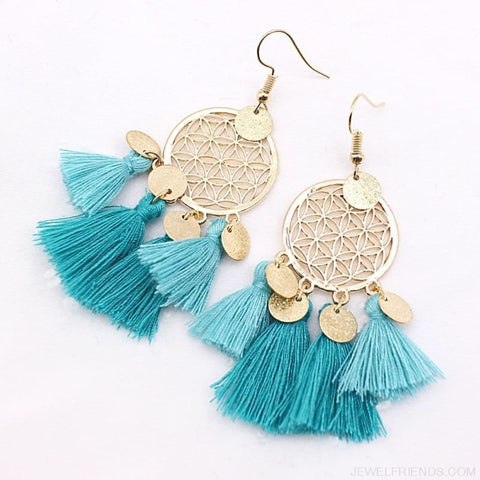 Bohemia Ethnic Summer Sequin Tassel Drop Earrings - Custom Made | Free Shipping