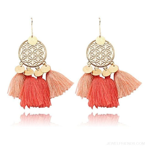 Bohemia Ethnic Summer Sequin Tassel Drop Earrings - Orange - Custom Made | Free Shipping