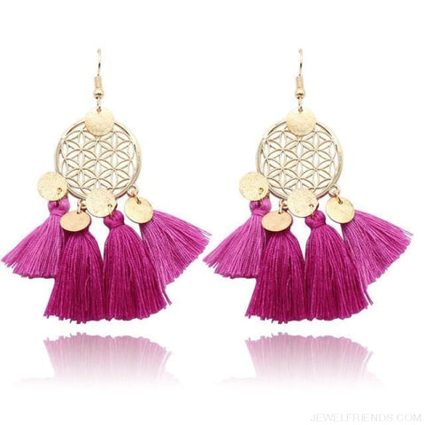 Bohemia Ethnic Summer Sequin Tassel Drop Earrings - Purple - Custom Made | Free Shipping