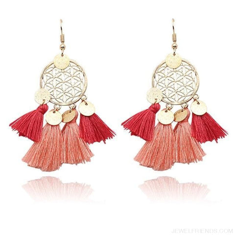 Bohemia Ethnic Summer Sequin Tassel Drop Earrings - Red - Custom Made | Free Shipping