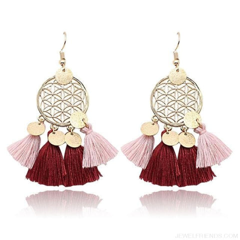 Bohemia Ethnic Summer Sequin Tassel Drop Earrings - Wine Red - Custom Made | Free Shipping