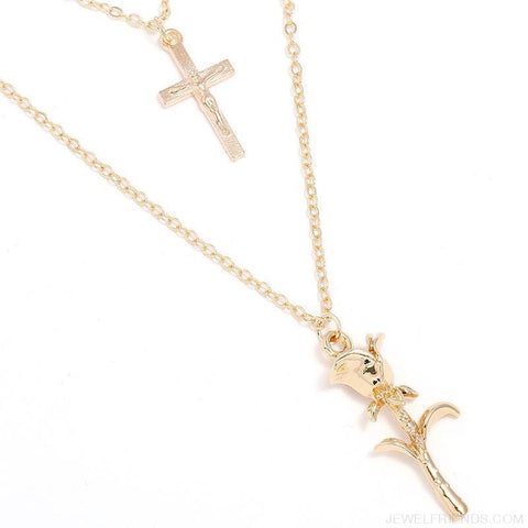 Bohemian Multilayer Rose Cross Pendant Necklace - Custom Made | Free Shipping