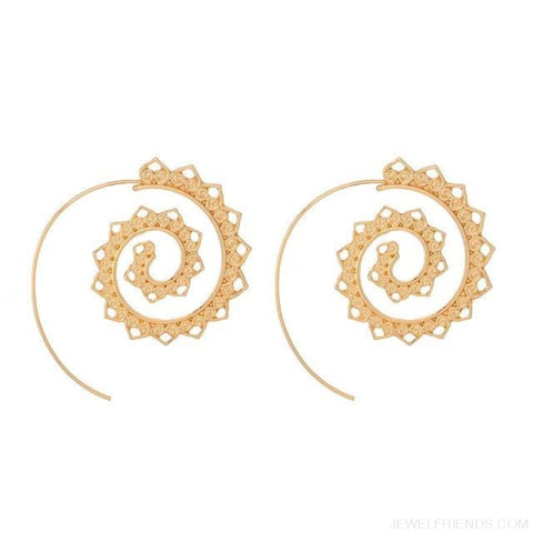 Image of Bohemian Round Spiral Earrings - 1 - Custom Made | Free Shipping
