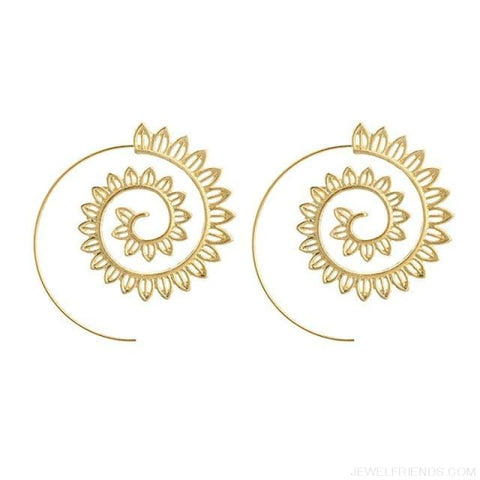 Image of Bohemian Round Spiral Earrings - 15 - Custom Made | Free Shipping