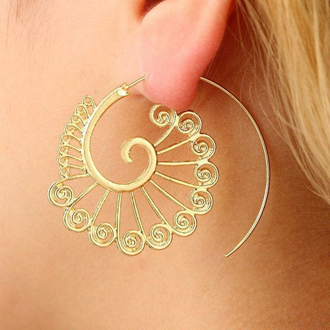 Bohemian Round Spiral Earrings - Custom Made | Free Shipping