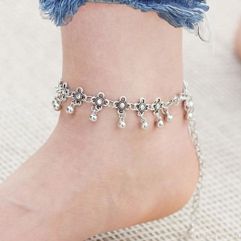 Image of Boho Bohemia Flower Ball Alloy Chain Link Anklet - Custom Made | Free Shipping