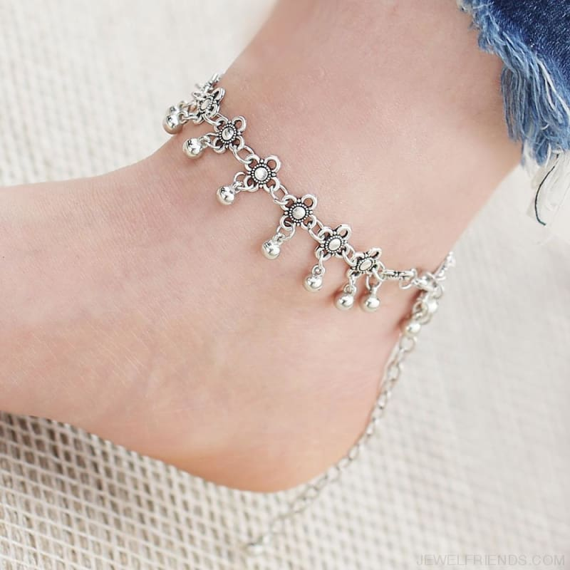 Boho Bohemia Flower Ball Alloy Chain Link Anklet - Custom Made | Free Shipping