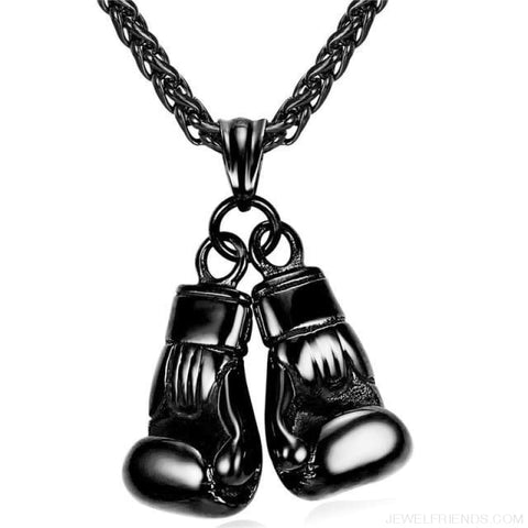 Image of Boxing Glove Pair Pendant Chain Necklace - Black Gun Plated / China - Custom Made | Free Shipping
