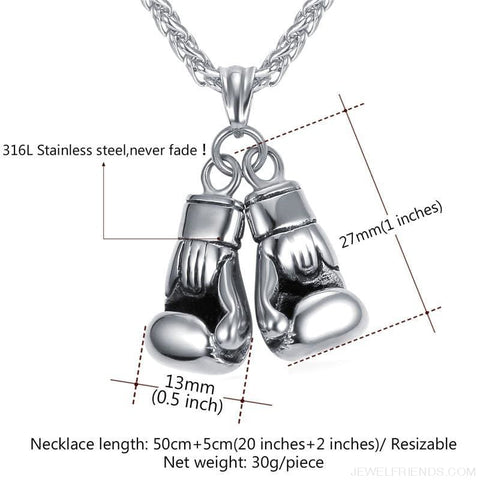 Boxing Glove Pair Pendant Chain Necklace - Custom Made | Free Shipping