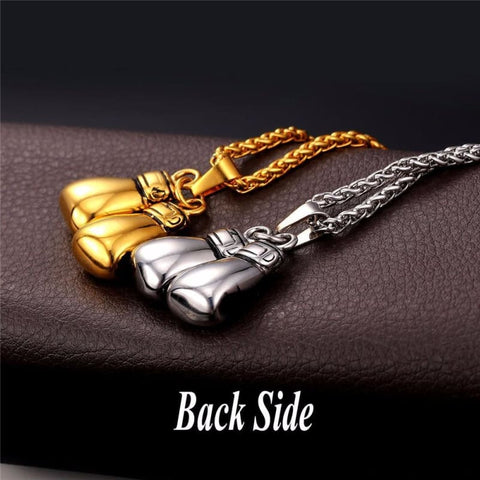 Image of Boxing Glove Pair Pendant Chain Necklace - Custom Made | Free Shipping