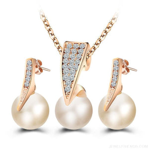 Bridal Gold Color Rhinestone Pearl Jewelry Set - Custom Made | Free Shipping