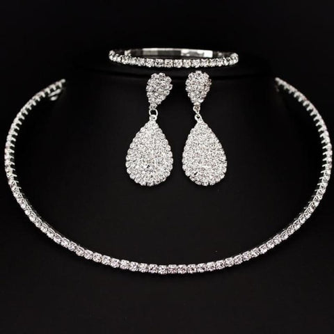 Bride Classic Rhinestone Crystal Choker Necklace Earrings And Bracelet - 1 Layer - Custom Made | Free Shipping