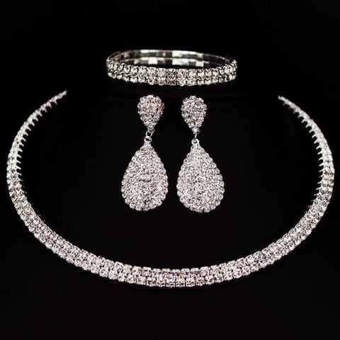 Bride Classic Rhinestone Crystal Choker Necklace Earrings And Bracelet - 2 Layer - Custom Made | Free Shipping