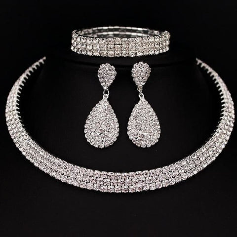 Bride Classic Rhinestone Crystal Choker Necklace Earrings And Bracelet - 3 Layer - Custom Made | Free Shipping