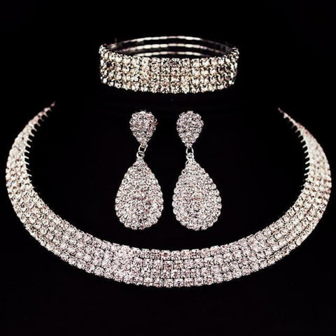 Bride Classic Rhinestone Crystal Choker Necklace Earrings And Bracelet - 4 Layer - Custom Made | Free Shipping