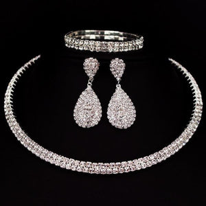 Bride Classic Rhinestone Crystal Choker Necklace Earrings and Bracelet