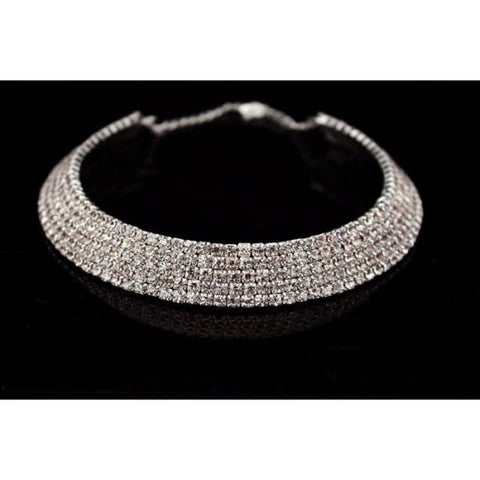 Image of Bride Classic Rhinestone Crystal Choker Necklace Earrings And Bracelet - Custom Made | Free Shipping