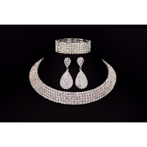 Bride Classic Rhinestone Crystal Choker Necklace Earrings And Bracelet - Custom Made | Free Shipping