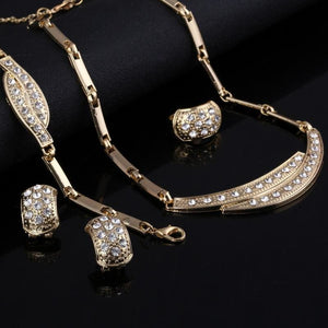 Brides Dubai Gold Crystal Jewelry Sets