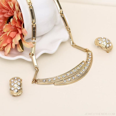 Image of Brides Dubai Gold Crystal Jewelry Sets - Custom Made | Free Shipping