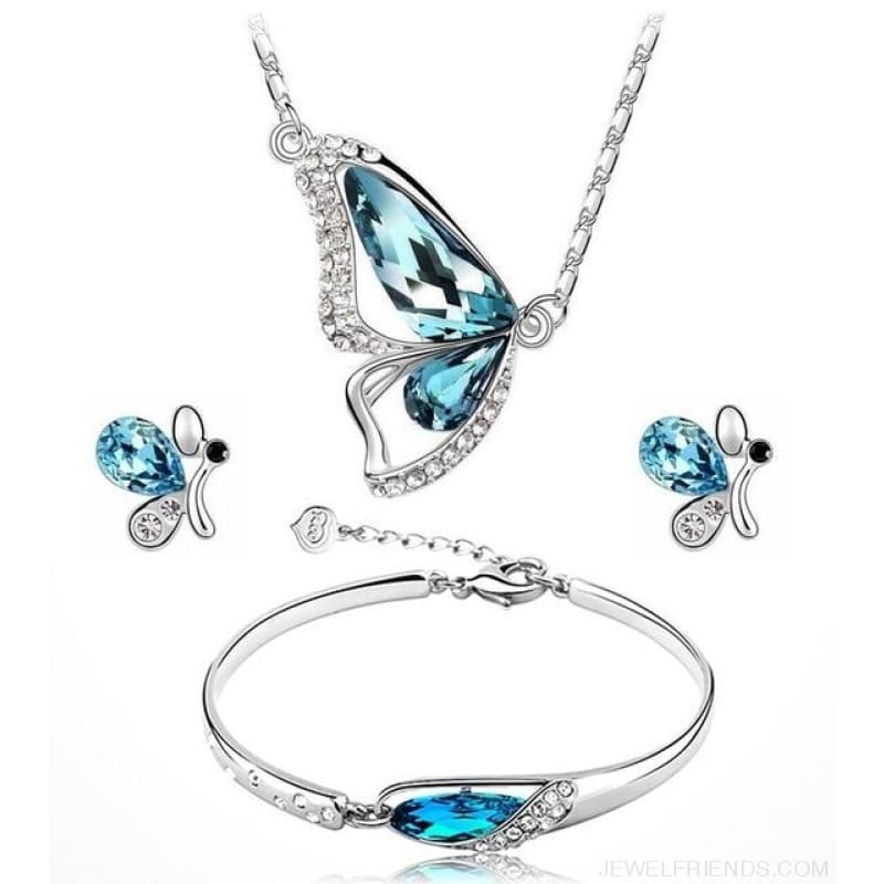 Butterfly Crystal Jewelry Sets - A89 Blue - Custom Made | Free Shipping