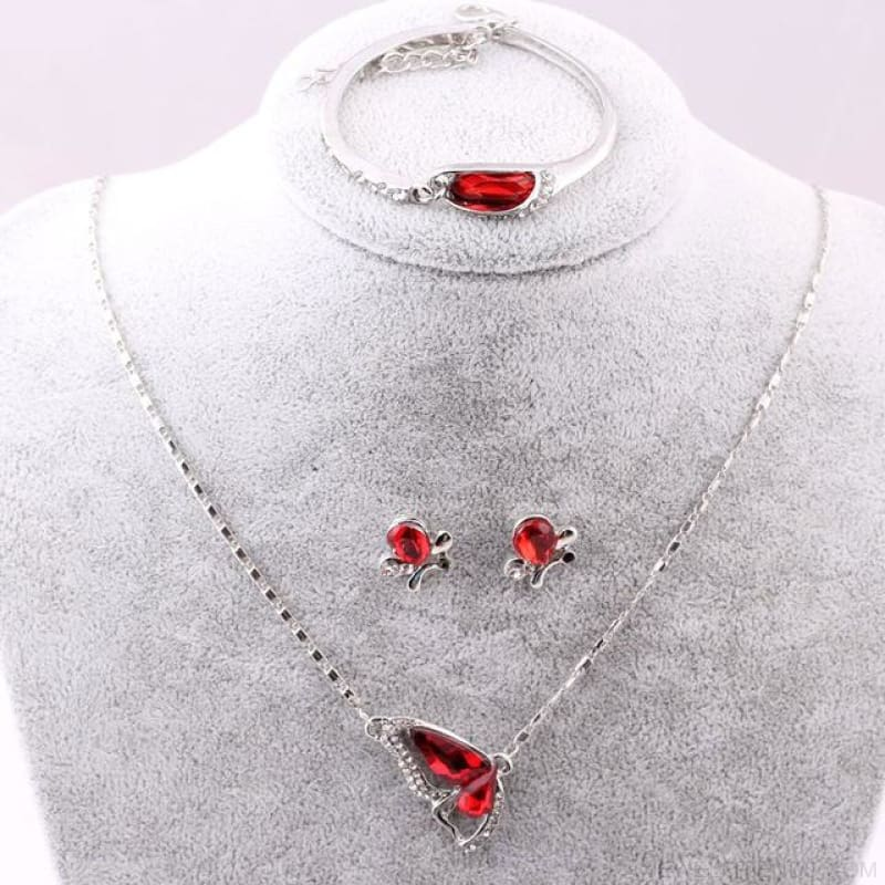 Butterfly Crystal Jewelry Sets - A90 Red - Custom Made | Free Shipping