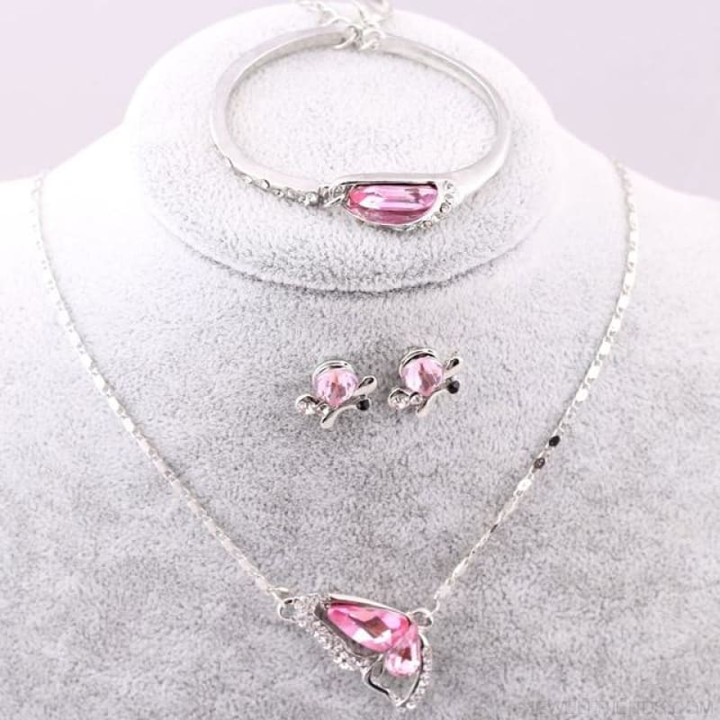 Butterfly Crystal Jewelry Sets - A91 Pink - Custom Made | Free Shipping