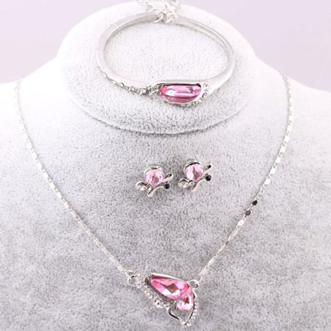 Image of Butterfly Crystal Jewelry Sets - A91 Pink - Custom Made | Free Shipping