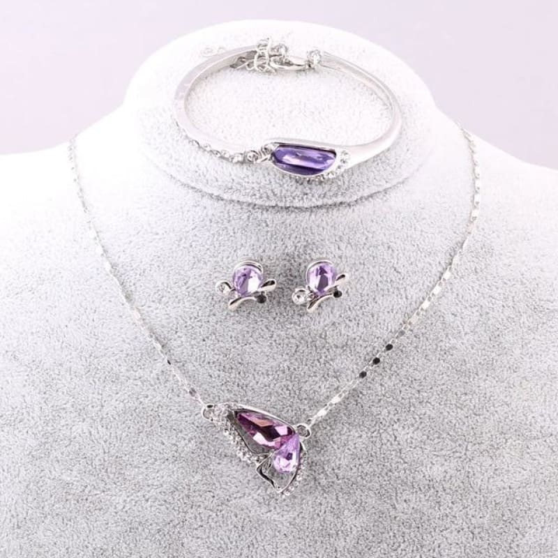 Butterfly Crystal Jewelry Sets - A92 Purple - Custom Made | Free Shipping
