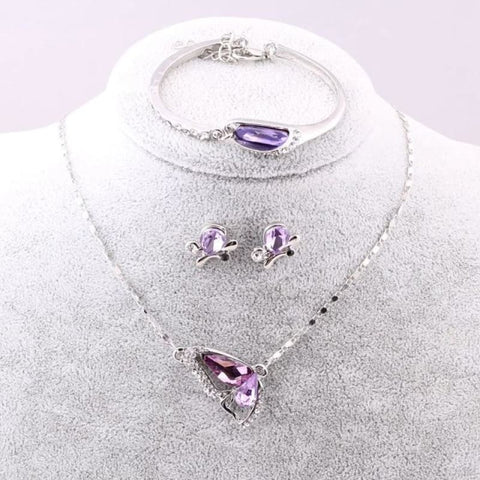 Image of Butterfly Crystal Jewelry Sets - A92 Purple - Custom Made | Free Shipping