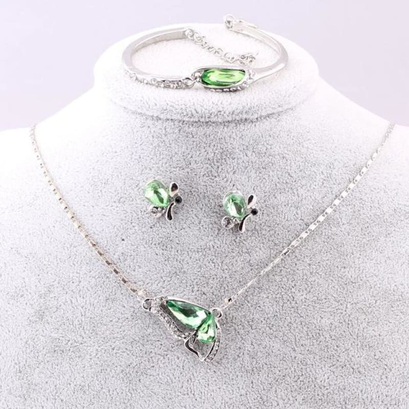 Butterfly Crystal Jewelry Sets - A93 Green - Custom Made | Free Shipping