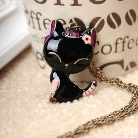 Image of Cartoonish Cute Cat Jewelry Set - Necklace - Custom Made | Free Shipping