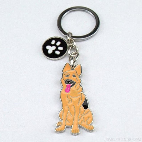 Cartoonish Dog Breed Keychains - German Shepherd Dog - Custom Made | Free Shipping