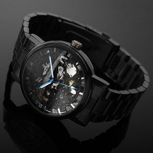 Casual Black Stainless steel Mechanical Skeleton WristWatch
