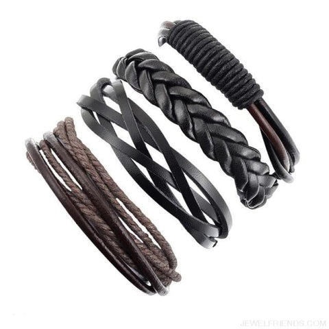 Image of Casual Leather Black Multilayer Braid Wrap Bracelets Rope Chain - B 4Pc - Custom Made | Free Shipping