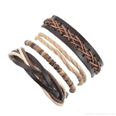 Casual Leather Black Multilayer Braid Wrap Bracelets Rope Chain - D 4Pc - Custom Made | Free Shipping