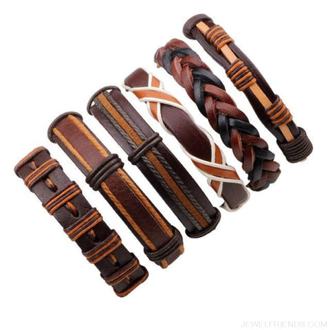 Casual Leather Black Multilayer Braid Wrap Bracelets Rope Chain - F 6Pc - Custom Made | Free Shipping